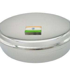India Flag Pendant Oval Trinket Jewelry Box